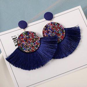 Tassels Rhinestones Stud Drop Earrings